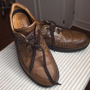 Ecco Light shock point oxford brown leather shoes